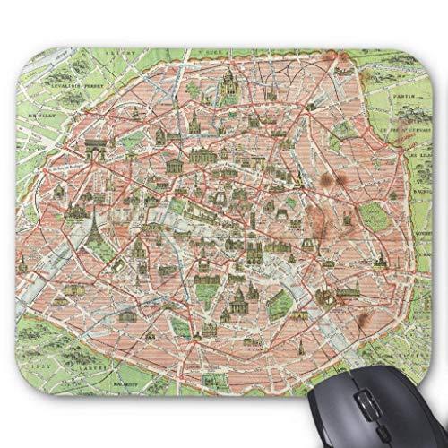 Muismat, Gaming Mouse Pad Grote Grootte 300x250x3mm Dikke Vintage Kaart Van Parijs (1920) Uitgebreide Muis Pad Antislip Rubber