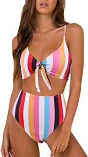 Bikini Swimwear Womens High Waisted Two Piece Swimsuit Tie Knot High Cut Bathing Suit for Women