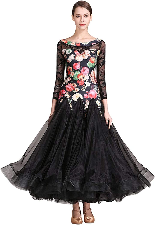National Ballroom Dance Dress Long Sleeve Women,Modern Waltz Dance Outfit Perspective Back Competition Dresses Print suit