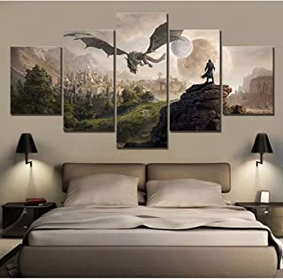 HASDK Hd Prints Picture Home Wall Art Modular 5 Pieces League Of Legends Painting Game Poster Canvas Room Decoration Framed