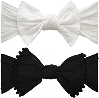 Bows 2 Pack - Baby to Little Girls Trimmed and Classic Knot Headbands