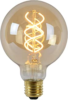 Lucide LED Bulb - Filament lamp - Diameter 9,5 cm - LED Dimb. - E27 - 1x5W 2200K - Amber, 1 x 1 x 13.8 cm