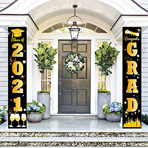 Ivenf Graduation Porch Sign Set, Congrats Grad Class of 2021 Home for Outdoor Indoor, Black Gold Hanging Banner Yard Porch Decor Party Decoration Ornament Style 1