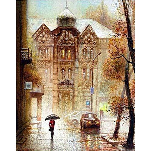 Iejsgfj DIY Ölgemälde Malen Nach Zahlen für Erwachsene Kinder Kein Rahmen Frau mit Regenschirm Gemälde auf Leinwand Kits paintworks Geschenk Freizeit Unterhaltung Wand Kunst Home Dekor