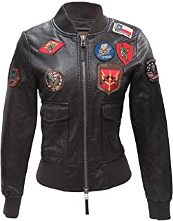 Womens TOP Gun Flight Patches Real Leather Pink Bomber Jacket