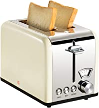 Gohyo 2 Slice Toaster 100% Stainless Steel with Wide Slots & Removable Crumb Tray for Bread & Bagels (Beige)