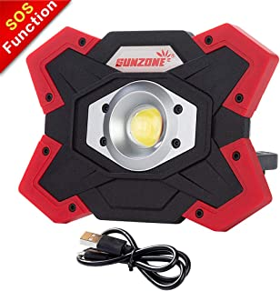 SUNZONE LED Work Light 20 Watt 1200 Lumens FloodLight Outdoor Camping Fishing Spotlights Searchlight Built-in Rechargeable Lithium Batteries Lamp With USB Ports (6006 Red)