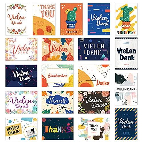 Deeplay Dankeskarten Danksagungskarten, 20 Päckchen holografische