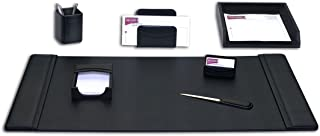 Dacasso Leather Desk Set, 7-Piece, Black