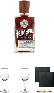 Relicario SUPERIOR Ron Domenicano Rum 0,7 Liter  2 Bugatti Nosing Gläser mit Eichstrich 2cl und 4cl  2 Schiefer Glasuntersetzer eckig ca. 9,5 cm Durchmesser