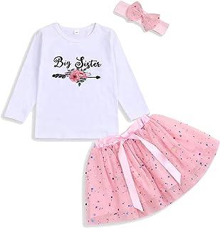 GRNSHTS Toddler Kid Baby Girls Big Sister Outfits Long Sleeve T-Shirt Tops+Tutu Skirt with Headband Clothing Set