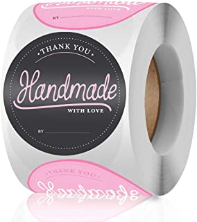 Hand Made Stickers Roll of 500 Pcs, ORIR·X 1.5 inch 2 Designs Waterproof Candle Warm Notice Stickers, Candle Making Suppli...