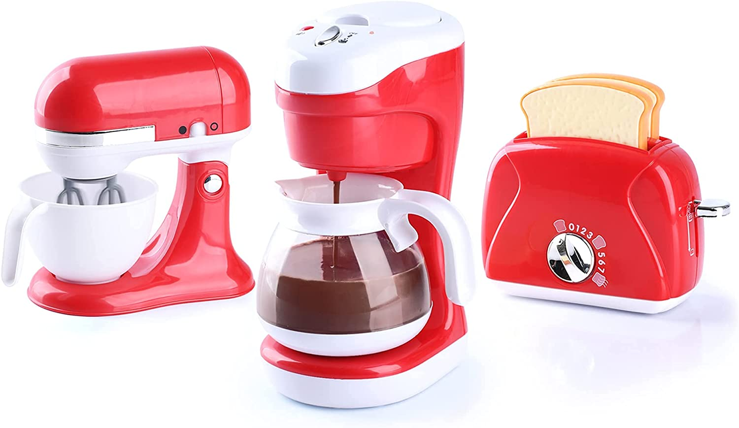 Play Toy Kitchen Sets for Kids, Kitchen Pretend Play Set - Toaster, Coffee Maker and Mixer with Realistic Sound, Light and Action for Toddlers Imaginary Cooking Role Play, Birthday Gift, Age 3+, Red