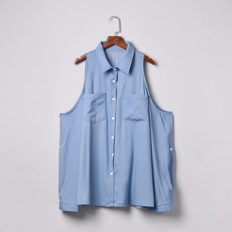 Sweatshirts for Women Blue Denim Lapel Shirt Long-Sleeve Off-Shoulder Tunics Solid Color Buttoned Top Cardigan