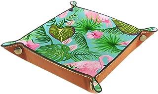 Hojas tropicales y flores exóticas Organizador de almacenamiento junto a la cama de cuero Mesita de noche Aparador de escr...