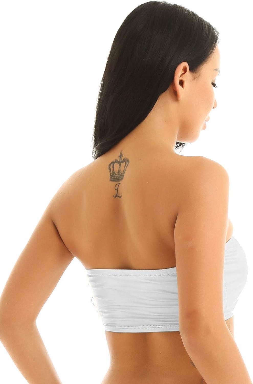 Aislor Womens Shiny Metallic Wet Look Strapless Crop Top Tube Bandeau Bikini Bra Rave Dancewear