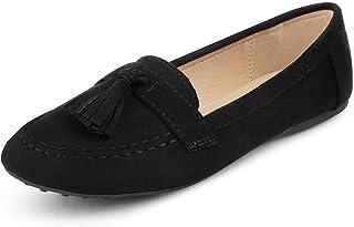 tresmode Womens Black Suede Leather Tassel Loafers Footwear
