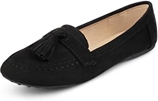 tresmode Womens Black Suede Leather Tassel Loafers Footwear
