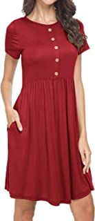 Twinklady Womens Short Sleeve Cotton Sleepwear Button Sleep Shirt Dress Plus Size Casual Maxi Dresses with Pockets XL Wine Red