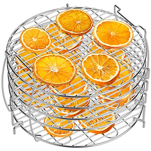 Dehydrator Rack, Grill Accessories Air Fryer Rack Five Stackable Layer with Feet 304 Food Grade Stainless Steel Dehydrator Stand for Ninja Foodi Accessories Pressure Cooker and Air Fryer 6.5 qt & 8 qt