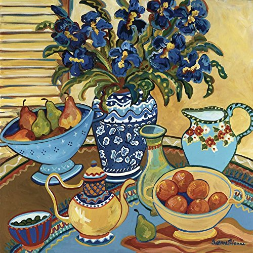 Blue And White With Oranges Poster Print by Suzanne Etienne (12 x 12)