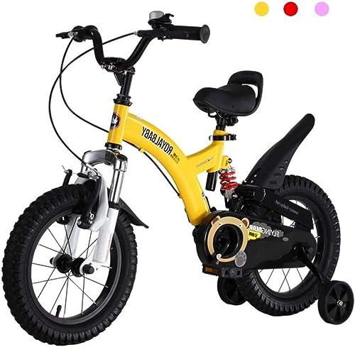 LJFYMX Vélo de Garçon Vélo Tout-Terrain VTT pour Enfants Couleur 12 14 16 18 Pouce Jaune Vélo de Montagne ( Taille   C )