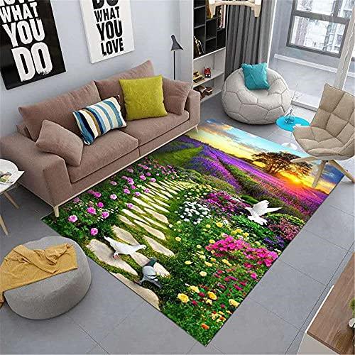 Césped Verde Púrpura Flor Paisaje Patrón HD Impresión HD Moda Soft Soft Office Oficina Estudio Mesa de Centro Alfombra-120x180cm Alfombra económica con diseño Moderno para el salón