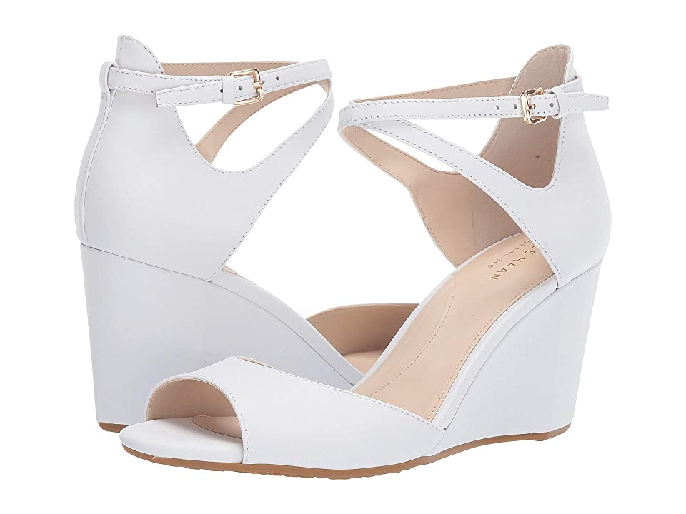 Cole Haan 75 mm Sadie Grand Open Toe Wedge Sandal (Optic White Leather) Women