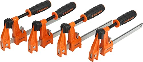 2021 Jorgensen 6 inch Bar Clamp Set, 4 Pack Steel F Clamp wholesale Light Duty, 300lbs Load Limited, for Woodworking, online Metalworking, DIY outlet online sale