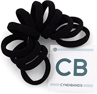 Gentle Hold Soft and Stretchy Seamless Elastic Nylon Fabric No-Metal Ponytail Holders - 12 Hair Ties (Black)