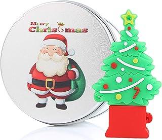 Christmas Tree Santa Gift 32GB USB Flash Drive Memory Stick Data Storage Device & Metal Box Packing Novelty Present