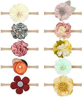 Qandsweet Baby Girl's Headbands Chiffon Flower Hair Accessories for Newborn Toddler and Kids