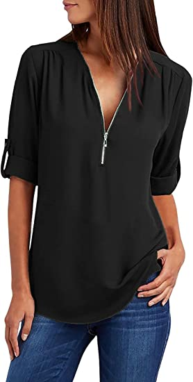 UMIPUBO Blusa de mujer con cremallera y blusas elegante, túnica de gasa, camiseta de estilo informal