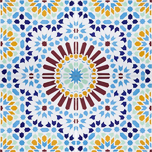 Cérames- Baha, baldosas cerámicas marroquí - 12 baldosas decorativas orientales tunecinas (0,48 m2) 20 x 20 cm para el baño, la cocina, debajo de las escaleras. Coloridos azulejos decorativos.