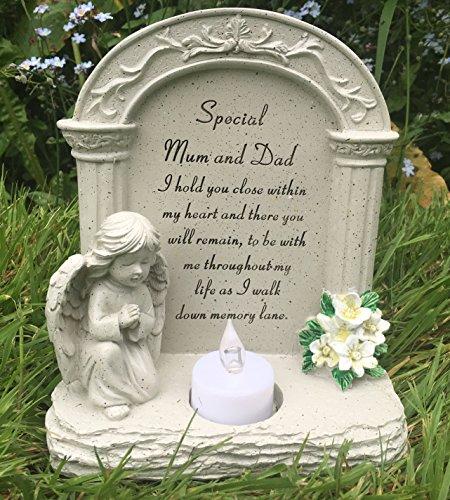 speciale Moeder en papa Graveside Memorial Plaque bidden engel thee licht