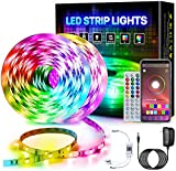 Pretmess RGB Led Strip Lights, 32.8ft Smart Led Strip Color Changing with Bluetooth Controller Sync to Music Apply, LED Lights for Bedroom,Home Decoration, TV Backlight, Kitchen, Bar