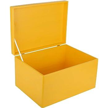 Creative Deco XL Amarilla Grande Caja de Madera para Juguetes   40 x 30 x 14 cm (+/-1cm)   con Tapa y Asas Cofre para Decorar   Almacenaje Documentos, Objetos de Valor, Herramientas: Amazon.es: Hogar