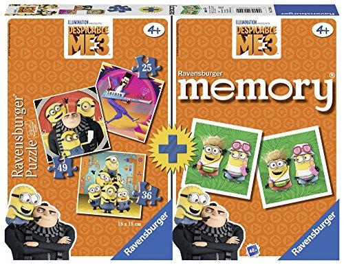 Ravensburger Minions Multipack Memory + 3 Puzzles, GRU, Mi Villano Favorito (21309)