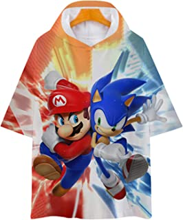 Sonic Hedgehog Ultra-Thin Breathable Hooded T-Shirt Summer Tops Boys and Girls T-Shirts