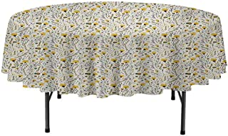 Curioly Doodle Washable Round Tablecloth Yellow Flowers with Acorns and Foliage Pattern Ecology Themed Spring Dinner Picnic Home Decor D35 Inch Yellow Sea Green Black