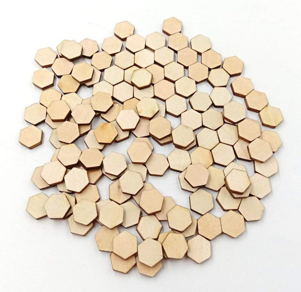 10 mm 10MM Legno HEALLILY 200 Etichette di legno esagonali senza rifinitura cuscinetti di legno per dipingere fai da te e bricolage