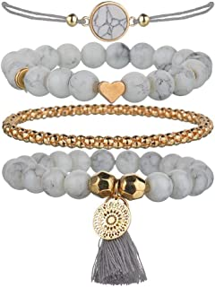 Beaded Bracelets for Women - Adjustable Charm Pendent Beaded Stackable Wrap Bohemia Bracelets for Women Gift
