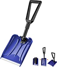 ORIENTOOLS Folding Snow Shovel with D-Grip Handle and Durable Aluminum Edge Blade, Emergency Snow Shovel for Car, Truck, Recreational Vehicle, etc.(Blade 9