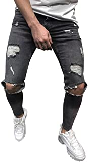 Rambling Hot Style Mens Stretchy Ripped Skinny Biker Jeans Destroyed Tapered Slim Fit Denim Pants
