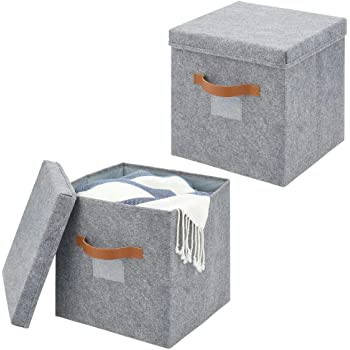 mDesign Juego de 2 cajas de almacenaje para armario o dormitorio – Cesta organizadora grande de fibra