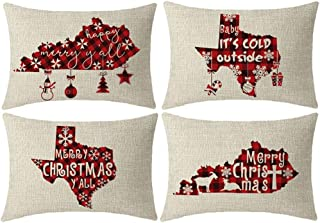 NIDITW Set of 4 Happy Merry Christmas Yall Baby Its Cold Outside the United States of Texas Kentucky Red and Black Plaid Lumbar Burlap Decorative Rectangle Pillow Case Pillowcase for Sofa 12x20 Inches