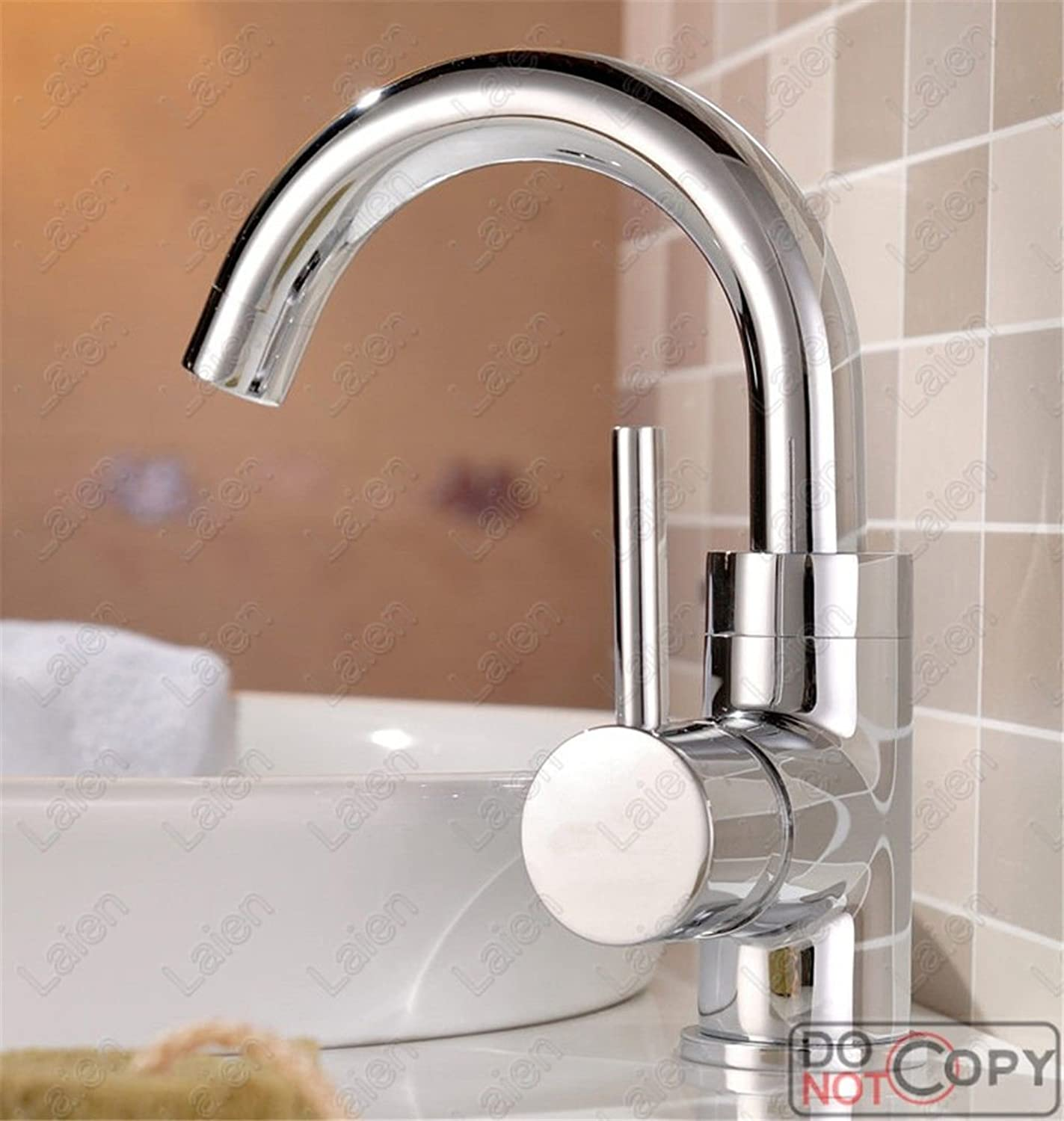 AQMMi Bathroom Sink Faucet Basin Mixer Tap Brass Single Lever Single Hole Hot and Cold Water Basin Sink Tap Bathroom Bar Faucet