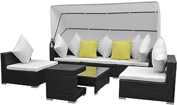 vidaXL 7 Piece Garden Lounge Set with Canopy 100% Polyester Outdoor Patio Weather Rust Resistant Sofa Set Garden Furniture...