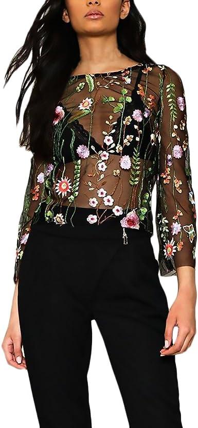 Blusas Mujer Manga Larga Originales Elegantes Chic Camisetas Transparentes Tul Bordadas De Flores Tops Fiesta Dulce Cuello Redondo T Shirt Primavera ...