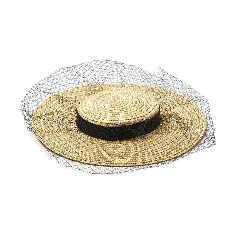食料品店正直無視する春と夏の浅いフラットトップワイドメッシュガーゼ麦わら帽子ステージキャットウォークスタイルマッチングフラット麦わら帽子